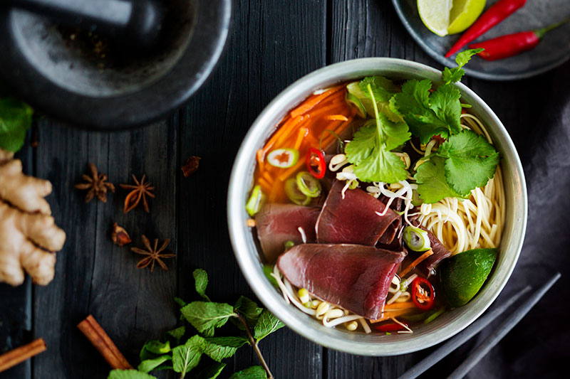 Pho soppa med smakrik renfile