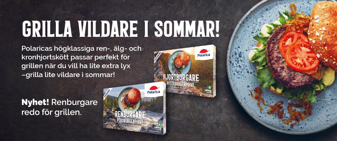 Grilla vildare i sommar! Polaricas högklassiga ren-, älg- och kronhjortskött passar perfekt för grillen när du vill ha lite extra lyx. Nyhet! Grillklara hamburgerbiffar.